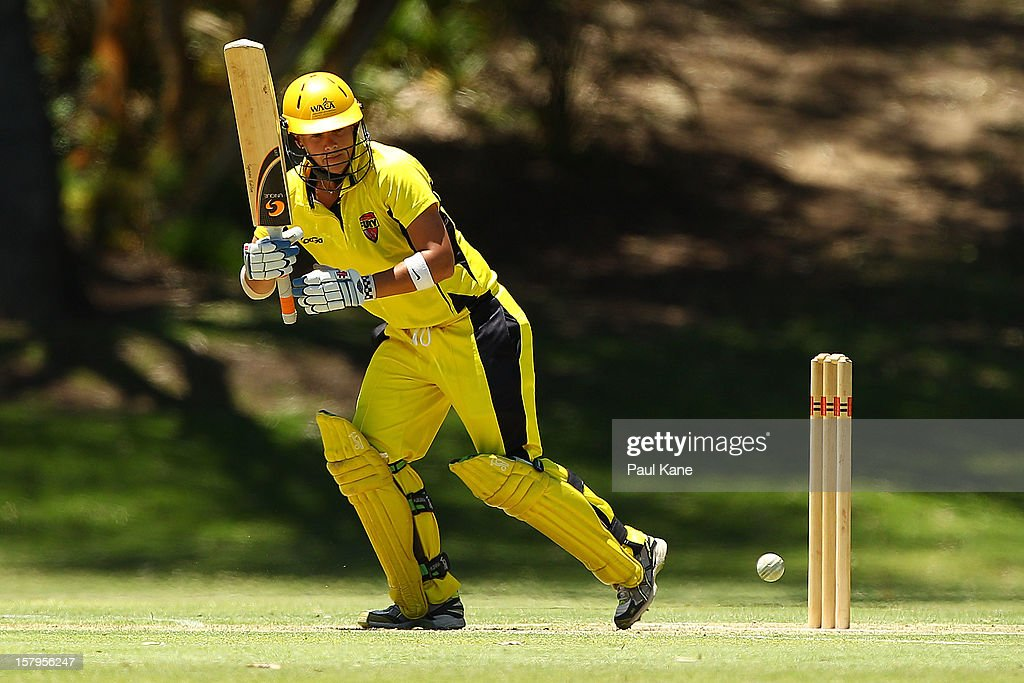 Nicola Shaw of the Fury bats during the WNCL match between the Western Australia Fury and the South Australia Scorpions at Christ Church Grammar Playing Fields on December 8, 2012 in Perth, Australia.