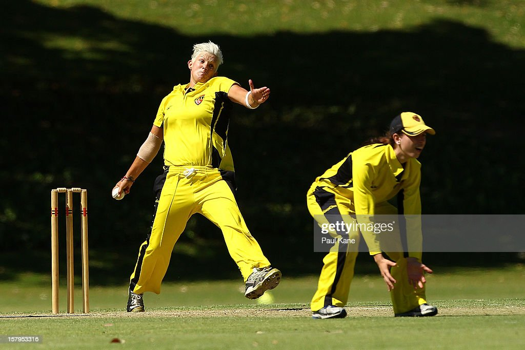 Nicola Shaw of the Fury bowls during the WNCL match between the Western Australia Fury and the South Australia Scorpions at Christ Church Grammar Playing Fields on December 8, 2012 in Perth, Australia.