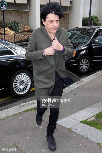 Nicola Sirkis arrives at the Balenciaga show as part of the Paris Fashion Week Womenswear Fall/Winter 2016/2017 on March 6 2016 in Paris France