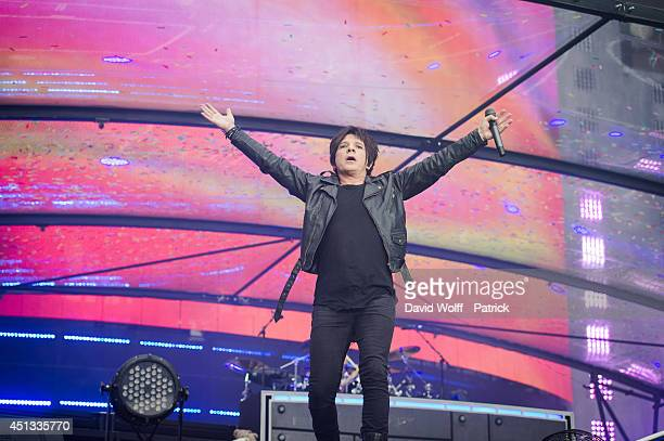Nicola Sirkis from Indochine performs at Stade de France on June 27 2014 in Paris France