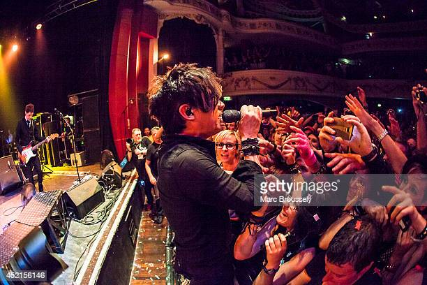 Nicola Sirkis of Indochine performs on stage at Shepherds Bush Empire on July 14 2014 in London United Kingdom