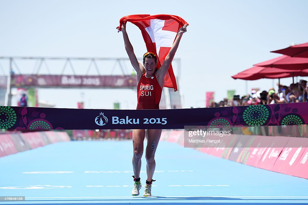 <a gi-track='captionPersonalityLinkClicked' href=/galleries/search?phrase=Nicola+Spirig&family=editorial&specificpeople=2231698 ng-click='$event.stopPropagation()'>Nicola Spirig</a> of Switzerland celebrates as she crosses the finish line to win the gold medal in the Women's Triathlon Final during day one of the Baku 2015 European Games at Bilgah Beach on June 13, 2015 in Baku, Azerbaijan.
