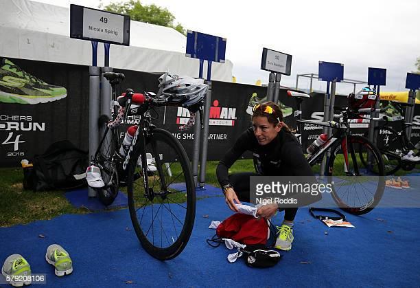 Nicola Spirig of Switzerland prepares for the 5150 triathlon on July 23 2016 in Zurich Switzerland