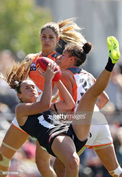 Nicola Stevens of the Magpies marks the ball during the round six AFL Women's match between the Collingwood Magpies and the Greater Western Sydney...