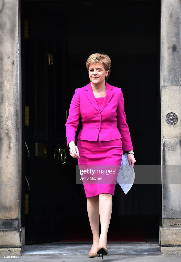 <a gi-track='captionPersonalityLinkClicked' href=/galleries/search?phrase=Nicola+Sturgeon&family=editorial&specificpeople=2582617 ng-click='$event.stopPropagation()'>Nicola Sturgeon</a> announces she will enters a third historic term at Holyrood on May 06, 2016 in Edinburgh, Scotland. <a gi-track='captionPersonalityLinkClicked' href=/galleries/search?phrase=Nicola+Sturgeon&family=editorial&specificpeople=2582617 ng-click='$event.stopPropagation()'>Nicola Sturgeon</a>, leading the Scottish National Party, won a historic third term at the Holyrood elections overnight. The SNP will likely form a minority government after failing to win a majority taking 63 seats out of a possible 129. The Conservative Party became the second largest party pushing Labour into third place.