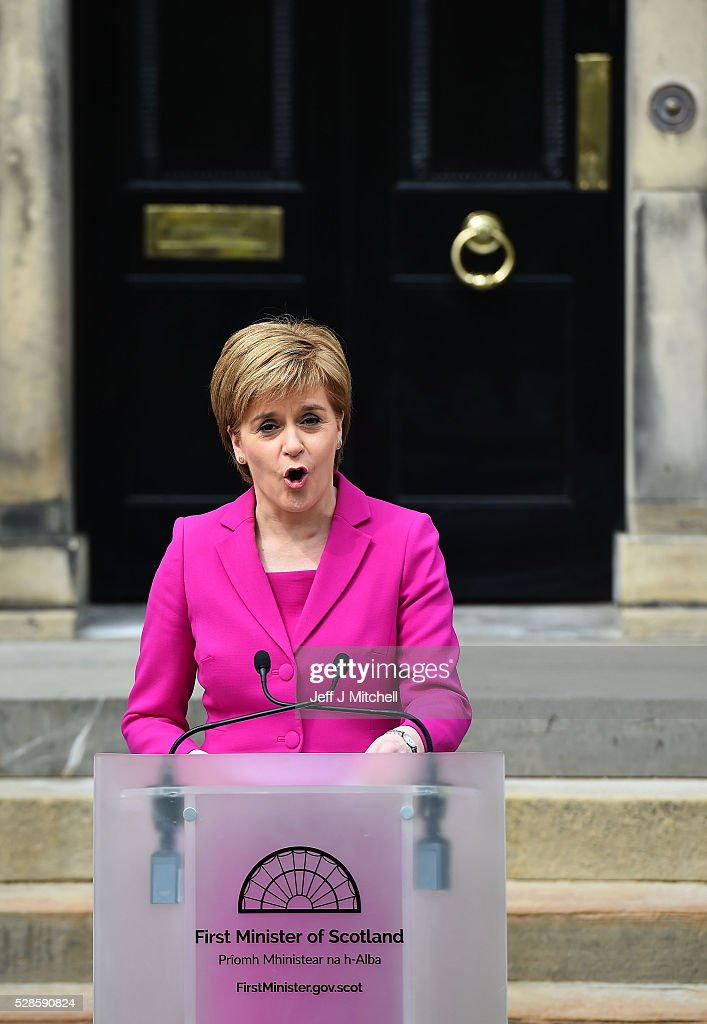 <a gi-track='captionPersonalityLinkClicked' href=/galleries/search?phrase=Nicola+Sturgeon&family=editorial&specificpeople=2582617 ng-click='$event.stopPropagation()'>Nicola Sturgeon</a> announces she won't form a coalition but that her government will be inclusive at Holyrood on May 06, 2016 in Edinburgh, Scotland. <a gi-track='captionPersonalityLinkClicked' href=/galleries/search?phrase=Nicola+Sturgeon&family=editorial&specificpeople=2582617 ng-click='$event.stopPropagation()'>Nicola Sturgeon</a>, leading the Scottish National Party, won a historic third term at the Holyrood elections overnight. The SNP will likely form a minority government after failing to win a majority taking 63 seats out of a possible 129. The Conservative Party became the second largest party pushing Labour into third place.
