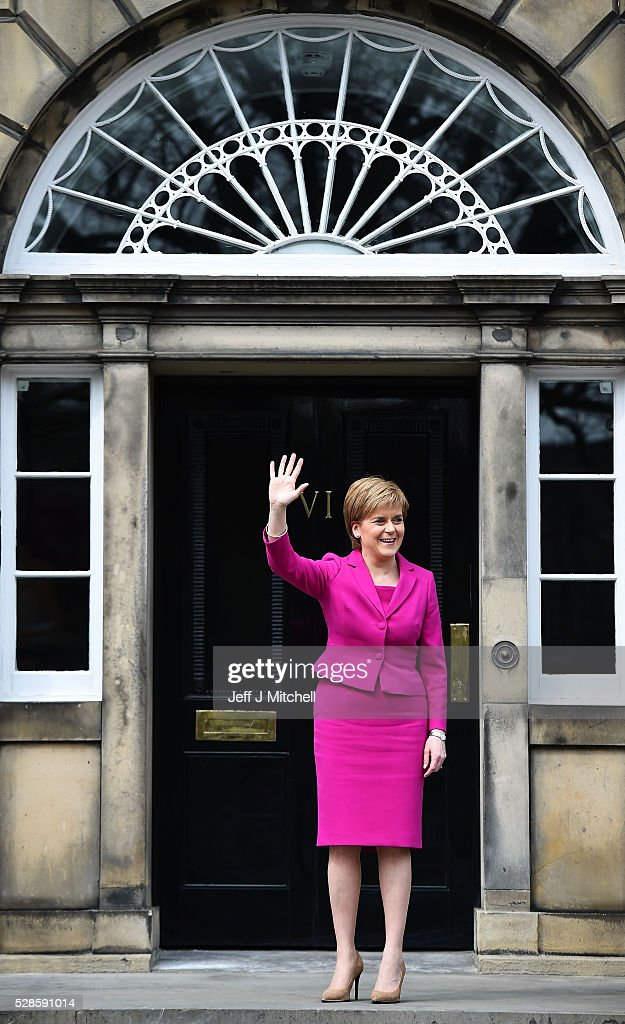 Nicola Sturgeon announces she won't form a coalition but that her government will be inclusive at Holyrood on May 06, 2016 in Edinburgh, Scotland. Nicola Sturgeon, leading the Scottish National Party, won a historic third term at the Holyrood elections overnight. The SNP will likely form a minority government after failing to win a majority taking 63 seats out of a possible 129. The Conservative Party became the second largest party pushing Labour into third place.