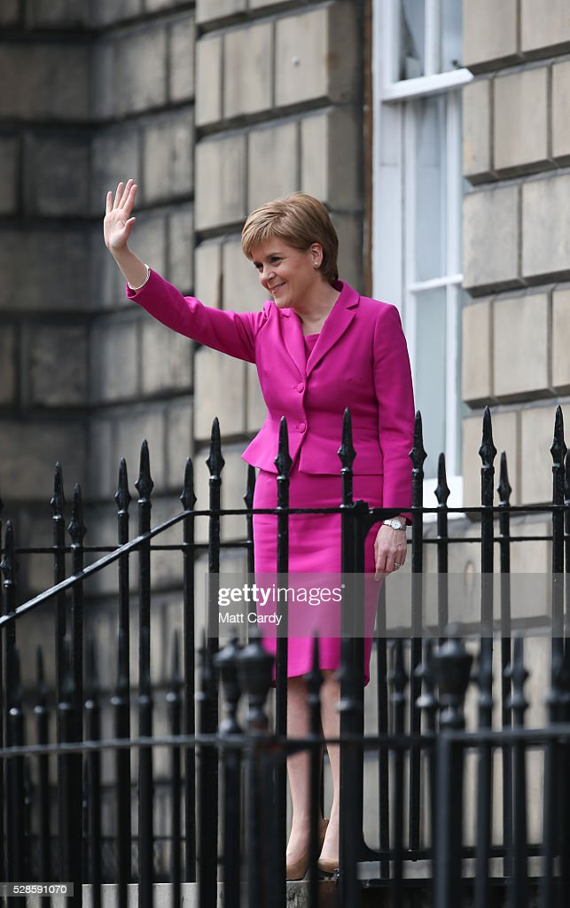 Nicola Sturgeon announces she won't form a coalition but that her government will be inclusive at Holyrood on May 6, 2016 in Edinburgh, Scotland. Nicola Sturgeon, leading the Scottish National Party, won a historic third term at the Holyrood elections overnight. The SNP will likely form a minority government after failing to win a majority taking 63 seats out of a possible 129. The Conservative Party became the second largest party pushing Labour into third place.