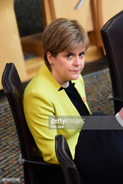 Nicola Sturgeon at First Minister's Questions in the Scottish Parliament on April 27 2017 in Edinburgh Scotland