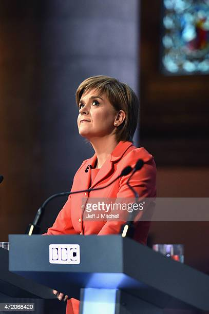 Nicola Sturgeon attends the final BBC election debate at Mansfield Traquair on May 3 2015 in Edinburgh Scotland With just four days to go until...