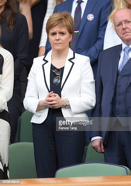 Nicola Sturgeon attends the Men's Final of the Wimbledon Tennis Championships between Milos Raonic and Andy Murray at Wimbledon on July 10 2016 in...