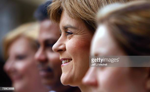 Nicola Sturgeon deputy leader of the SNP smiles as she attends the STUC Conference on April 17 2007 in Glasgow Scotland Labour retained the support...