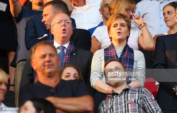 Nicola Sturgeon first minister of Scotland and husband Peter Murrell during the UEFA Women's Euro 2017 match between England and Scotland at Stadion...