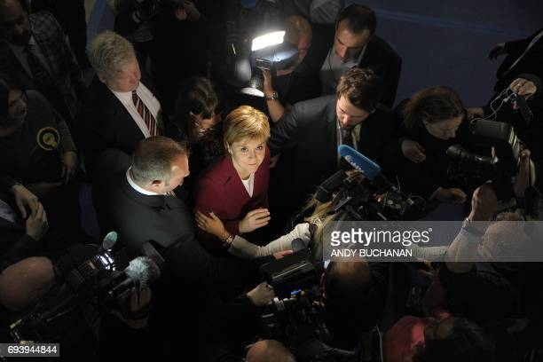 TOPSHOT Nicola Sturgeon First Minister of Scotland and leader of the Scottish National Party arrives at the main Glasgow counting centre in Glasgow...