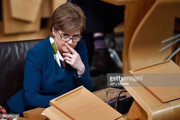 Nicola Sturgeon First Minister of Scotland attends the debate to keep Scotland in the European single market at the Scottish Parliament on January 17...