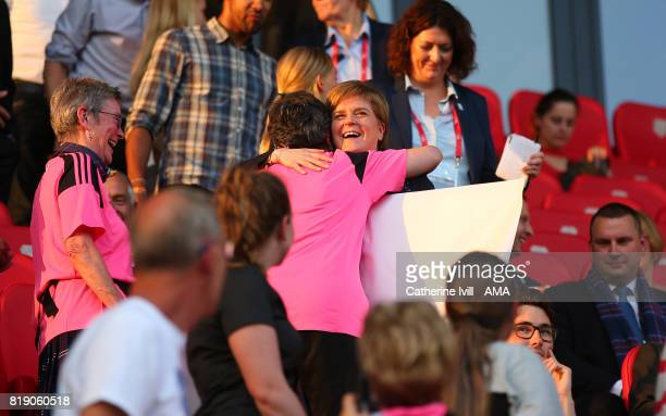 Nicola Sturgeon first minister of Scotland hugs a fan during the UEFA Women's Euro 2017 match between England and Scotland at Stadion Galgenwaard on...