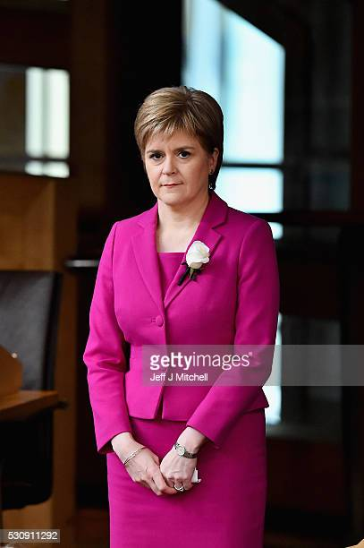 Nicola Sturgeon leader of the SNP attends the swearing in at the Scottish Parliament for the fifth session of the Scottish Parliament on May 12 2016...