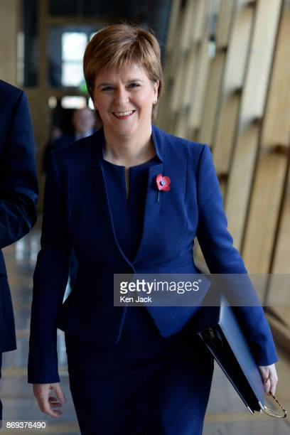 Nicola Sturgeon on her way to First Minister's Questions in the Scottish Parliament on November 2 2017 in Edinburgh Scotland