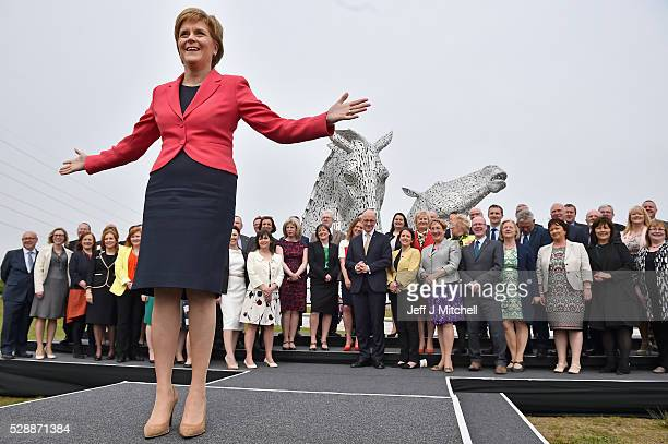 Nicola Sturgeon SNP leader and First Minister of Scotland hosts a photocall attended by many of the elected MSP's at the Kelpies sculpture on May 7...