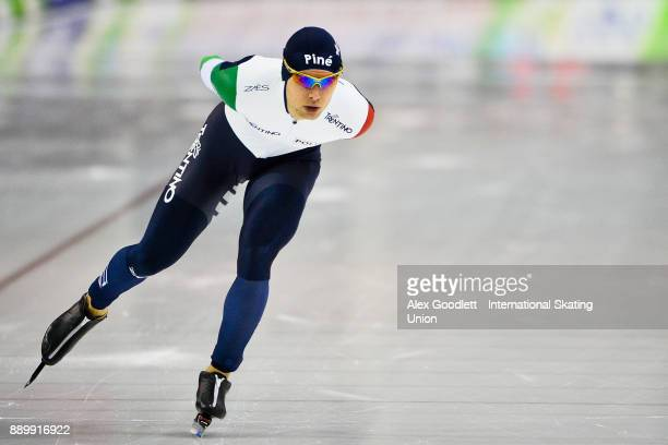 Nicola Tumolero of Italy competes in the men's 5000 meter final during day 3 of the ISU World Cup Speed Skating event on December 10 2017 in Salt...