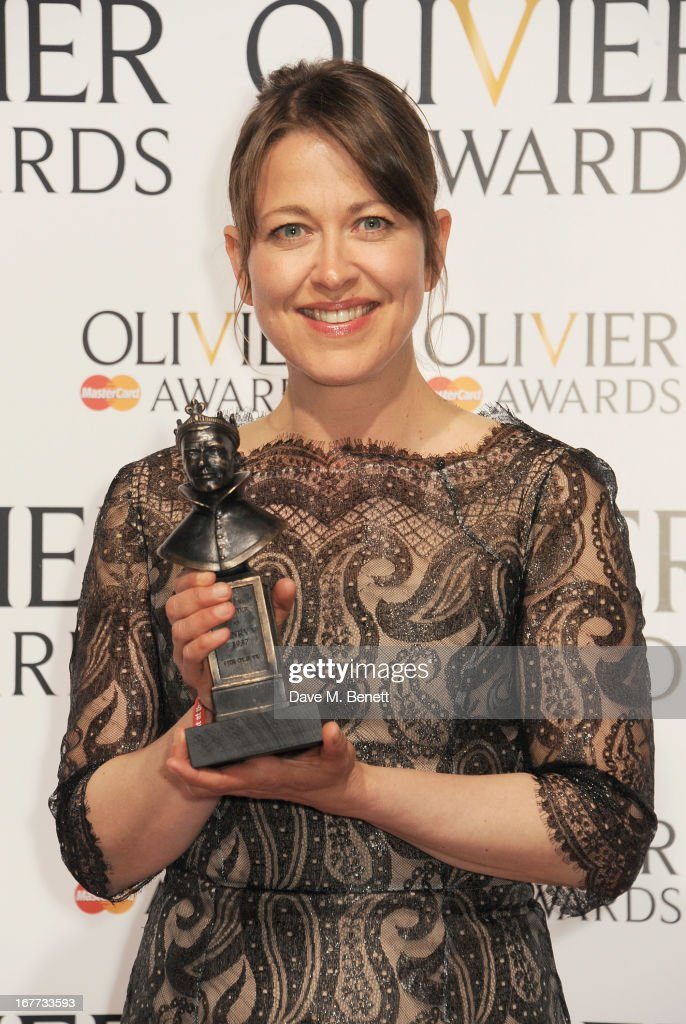 Nicola Walker, winner of Best Actress in a Supporting Role, poses in the press room at The Laurence Olivier Awards 2013 at The Royal Opera House on April 28, 2013 in London, England.