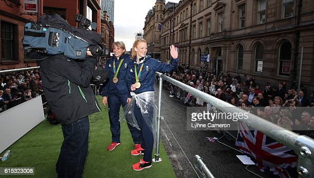Nicola White and Kate RichardsonWalsh during a Rio 2016 Victory Parade for the British Olympic and Paralympic teams on October 17 2016 in Manchester...