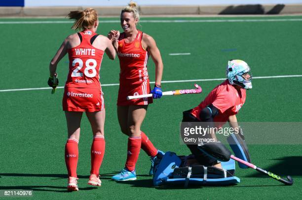 Nicola White and Susannah Townsend of England celebrate during day 9 of the FIH Hockey World League Women's Semi Finals 3rd4th place match between...