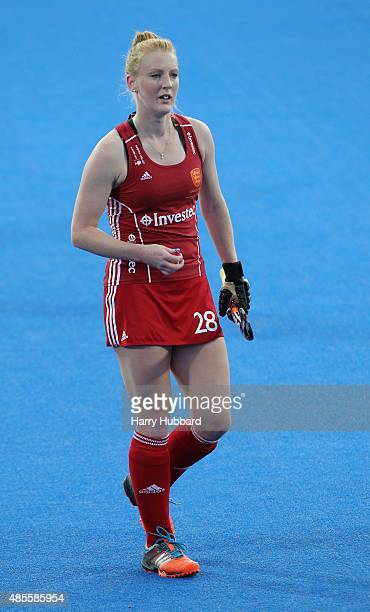 Nicola White of England in action during the match between England and Spain on day eight of the Unibet EuroHockey Championships at Lee Valley Hockey...