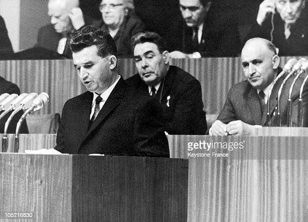 Nicolae Ceausescu The General Secretary Of The Romanian Communist Party Behind Him Leonid Brezhnev The General Secretary Of The Soviet Union'S...
