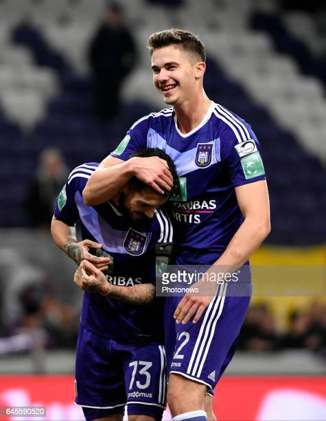 Nicolae Stanciu midfielder of RSC Anderlecht and Leander Dendoncker midfielder of RSC Anderlecht celebrates the win during the Jupiler Pro League...