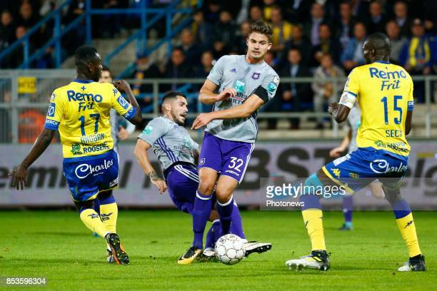 Nicolae Stanciu midfielder of RSC Anderlecht and Leander Dendoncker midfielder of RSC Anderlecht pictured during the Jupiler Pro League match between...