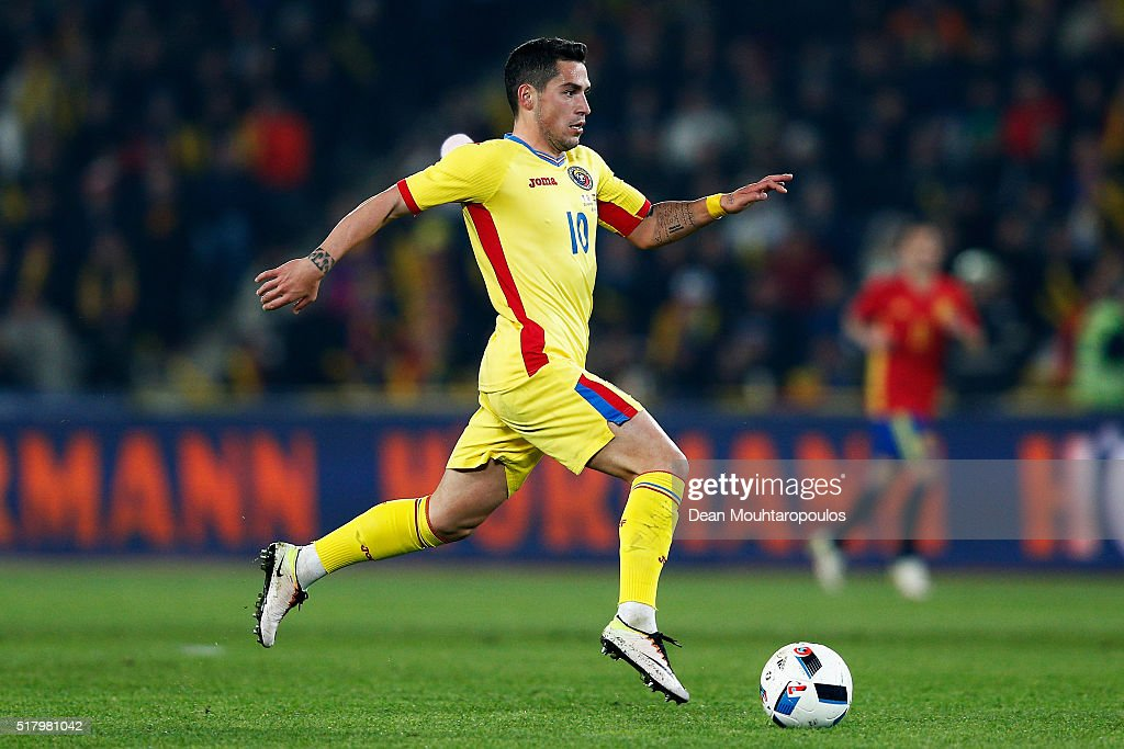 Nicolae Stanciu of Romania in action during the International Friendly match between Romania and Spain held at the Cluj Arena on March 27, 2016 in Cluj-Napoca, Romania.