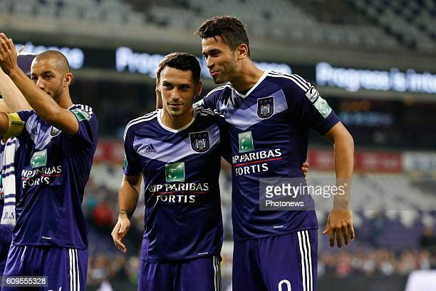 Nicolae Stanciu of RSC Anderlecht and Hamdi Harbaoui forward of Rsc Anderlecht celebrates pictured during Croky Cup match between RSC Anderlecht and...