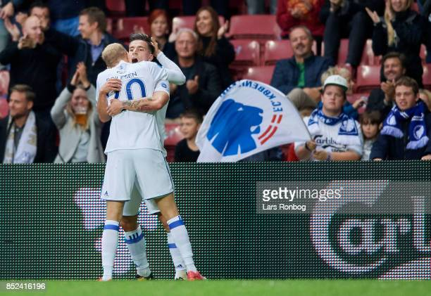 Nicolai Boilesen and Benjamin Verbic of FC Copenhagen celebrates after scoring their first goal during the Danish Alka Superliga match between FC...