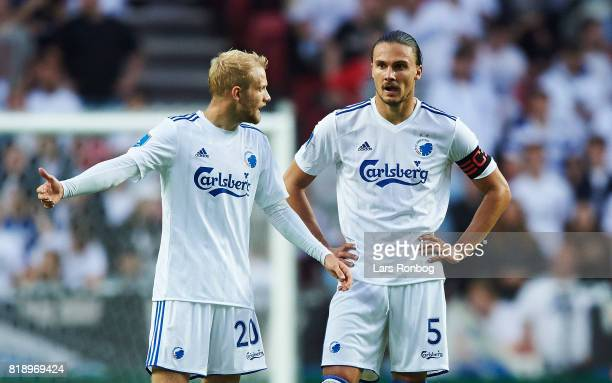 Nicolai Boilesen and Erik Johansson of FC Copenhagen shows frustration during the UEFA Champions League Qualification match between FC Copenhagen and...