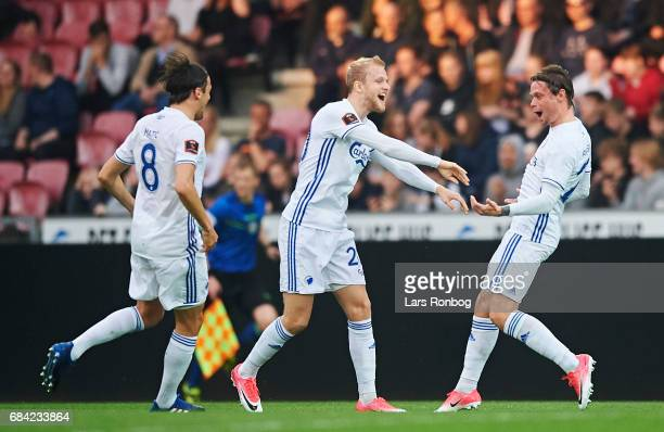 Nicolai Boilesen and Peter Ankersen of FC Copenhagen celebrate after scoring their second goal during the Danish Alka Superliga match between FC...