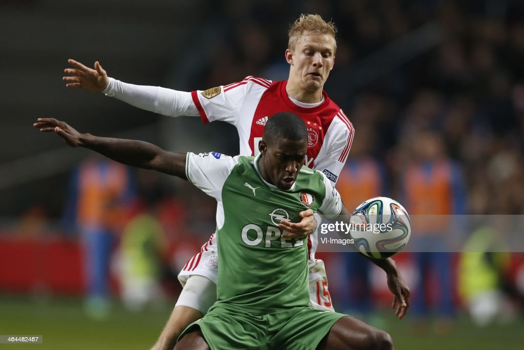 Nicolai Boilesen of Ajax Ruben Schaken of Feyenoord during the Dutch cup match between Ajax Amsterdam and Feyenoord at Amsterdam Arena on January 22...
