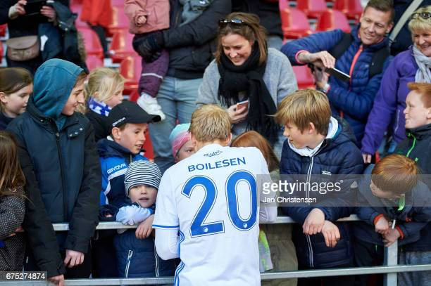 Nicolai Boilesen of FC Copenhagen and fans after the Danish Alka Superliga match between FC Copenhagen and Lyngby BK at Telia Parken Stadium on April...