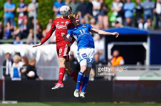 Nicolai Boilesen of FC Copenhagen and Gustav Marcussen of Lyngby BK compete for the ball during the Danish Alka Superliga match between Lyngby BK and...
