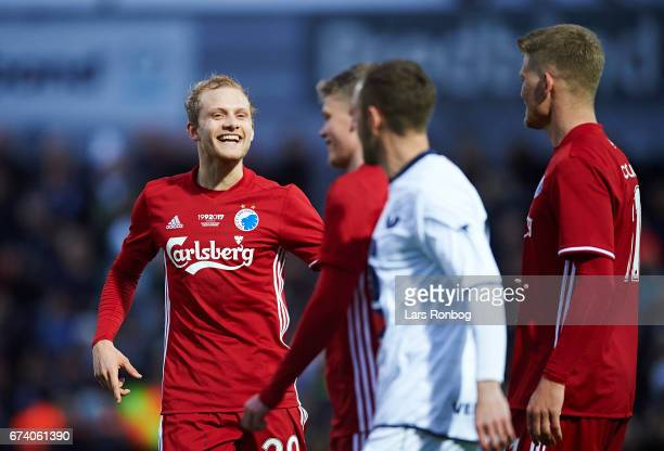 Nicolai Boilesen of FC Copenhagen celebrates after scoring their second goal during the Danish cup DBU Pokalen semfinal match between Vendsyssel FF...