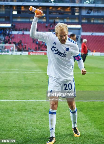 Nicolai Boilesen of FC Copenhagen celebrates after the Danish Alka Superliga match between FC Copenhagen and Sonderjyske at Telia Parken Stadium on...