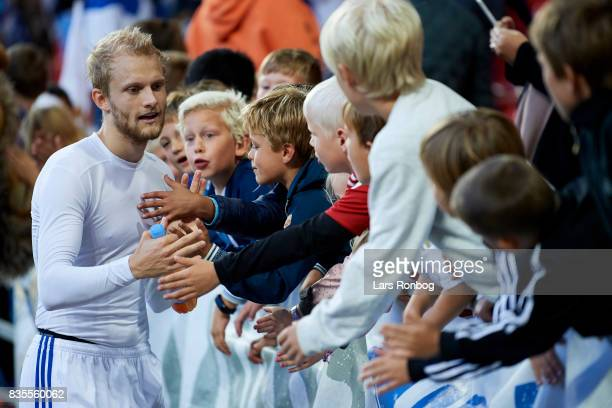 Nicolai Boilesen of FC Copenhagen celebrates with young fans after the Danish Alka Superliga match between FC Copenhagen and Sonderjyske at Telia...
