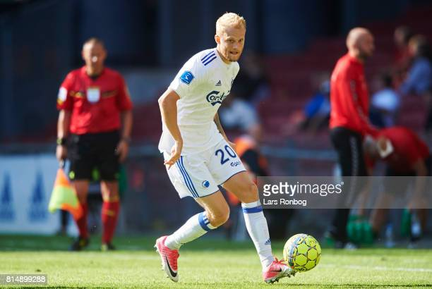 Nicolai Boilesen of FC Copenhagen controls the ball during the Danish Alka Superliga match between FC Copenhagen and AaB Aalborg at Telia Parken...