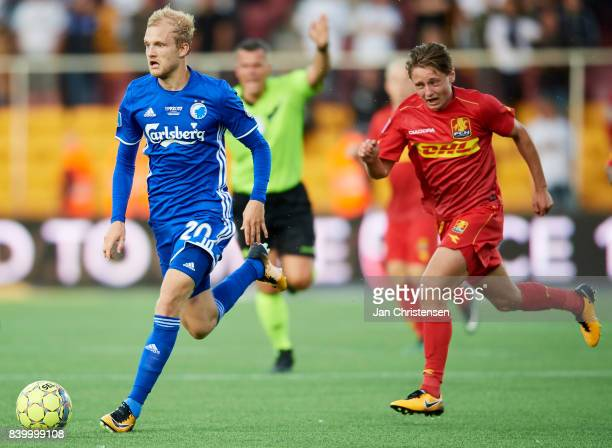 Nicolai Boilesen of FC Copenhagen controls the ball during the Danish Alka Superliga match between FC Nordsjalland and FC Copenhagen at Right to...