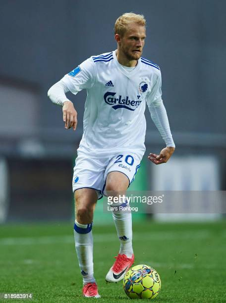 Nicolai Boilesen of FC Copenhagen controls the ball during the UEFA Champions League Qualification match between FC Copenhagen and MSK Zilina at...