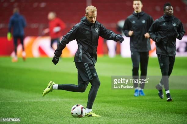Nicolai Boilesen of FC Copenhagen in action during the FC Copenhagen training session prior to the UEFA Europa League match at Telia Parken Stadium...