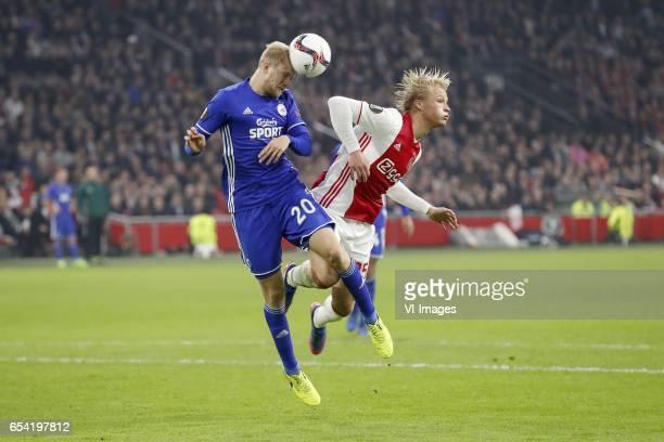 Nicolai Boilesen of FC Copenhagen Kasper Dolberg of Ajaxduring the UEFA Europa League round of 32 match between Ajax Amsterdam and FC Copenhagen at...