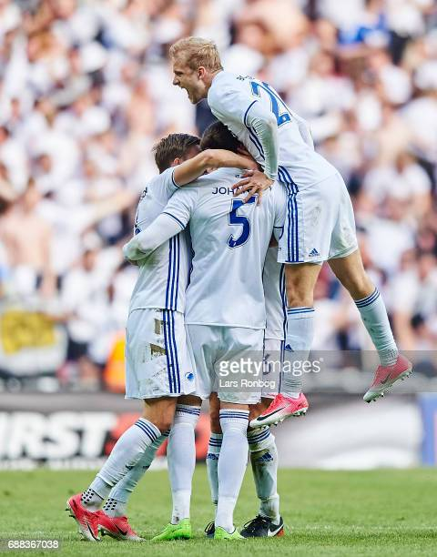 Nicolai Boilesen of FC Copenhagen on top celebrating after the 21 goal during the Danish Cup Final DBU Pokalen match between FC Copenhagen and...