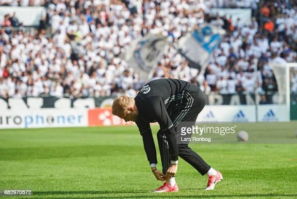 Nicolai Boilesen of FC Copenhagen preparing during warm up prior to the Danish Alka Superliga match between FC Copenhagen and Brondby IF at Telia...