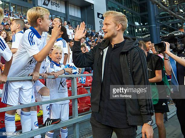 Nicolai Boilesen of FC Copenhagen with young fans during halftime in the Danish Alka Superliga match between FC Copenhagen and OB Odense at Telia...
